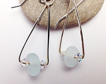 Seaglass Earrings with Sterling Silver Wire, Seafoam Beach Glass Jewelry, Forged Silver Earrings
