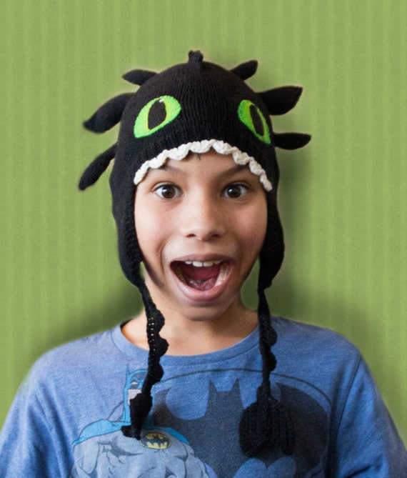 Toothless dragon hat knitting pattern from TiggsTogs on Etsy Studio