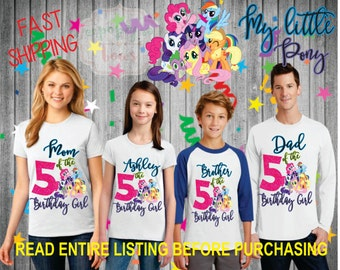 My little Pony Birthday Shirt Girl FAMILY Daughter Brother Dad Mom Brother Age Name Custom Theme Raglan Tshirt Oneise Long Sleeve