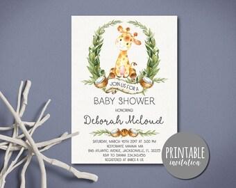 Giraffe Baby Shower Invitation Girl or Boy Safari Baby Shower Invitation Tropical Gender Neutral Baby Shower Invitation Printable lipa