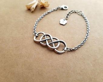 Double Infinity Bracelet, Best Friend Bracelet, Personalized Bracelet, Initial Bracelet, Love Bracelet, Eternity Bracelet, sisters bracelet
