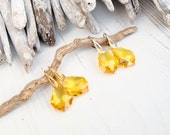 Sunflower Yellow Swarovski Baroque Earring-Swarovski Jewelry-24k Gold Plated Sterling Silver Crystal Earring-Dangle Drop Bridesmaids Earring