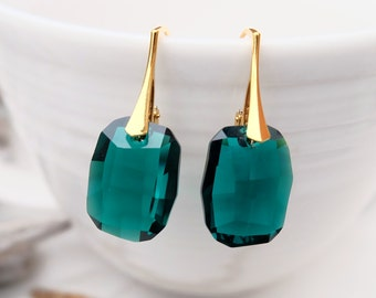 Emerald Green Swarovski Earrings-Graphic Swarovski Crystal Jewellery-Earrings-Modern Rectangular Dangle Drop Earrings-24k Gold Plated