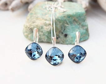 Denim blue Swarovski square crystal earrings necklace set Sterling Silver jewellery Cushion cut crystal drop bridesmaids wedding earring