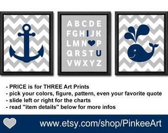 nautical nursery navy gray, nautical baby shower boy, nautical alphabet nursery, whale nursery, nautical baby decor, nautical boy decor