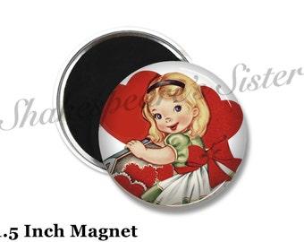 Valentine Magnet - Fridge Magnet - Red Heart Magnet - 1.5 Inch Magnet - Kitchen Magnet