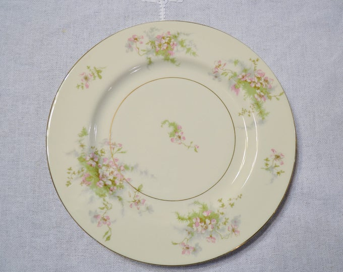 Vintage Theodore Haviland Apple Blossom Dinner Plate New York Pink Floral Gold Rim Replacement Wedding Bridal PanchosPorch