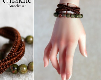 Unakite Bracelet set for BJD