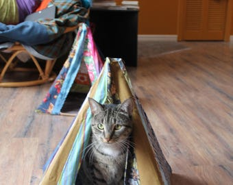 sleepy Cat teepee, pet bed, boho cat tent, boho cat tent, Bohemian cat, doll tent