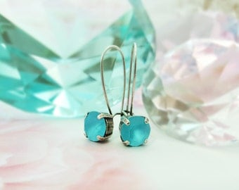 Aquamarine Earrings, Matte Blue Swarovski Earrings, Electric Blue Crystal Earrings, Caribbean Turquoise Matte Blue Minimalist Earrings E3041