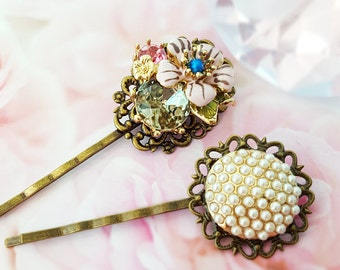 Crystal Pearl Bobby Pin Set, Light Pink Flower Hair Pin, Pink and Green Crystals, Set of 2 Bobbies, Garden Wedding Hair Jewelry, H4226