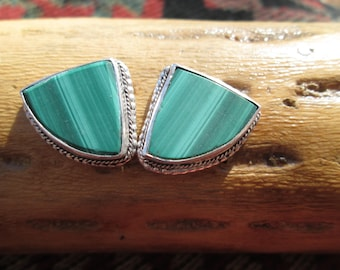 Vintage Malachite Green and Sterling Stud Earrings