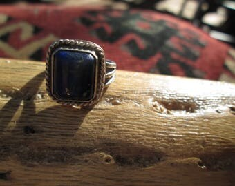 Lapis and Sterling Silver Ring Size 6