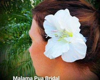 Real Touch White Hibiscus, hair clip, hair accessory, Hair Flower, Headpiece, Silk Flower, Bridal hair clip, Hawaiian, Crystal Center, Beach