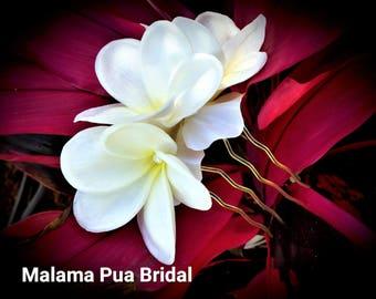 Wedding Hair comb, Bridal Hairpiece, floral hair accessory, Tropical real touch Plumeria, Beach, hair flower, Hawaiian flowers, hair clip