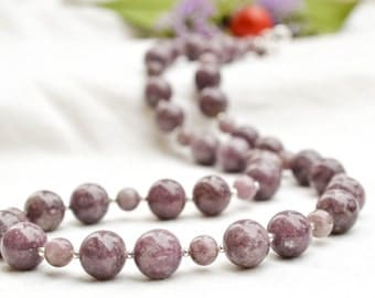 Natural plum jade necklace with sterling silver *Free worldwide shipping*