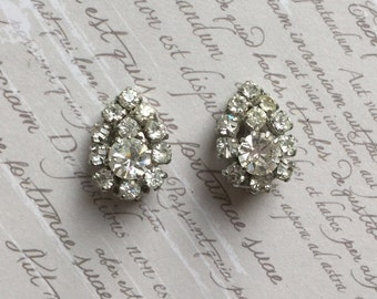 Vintage Clip Earrings - Rhinestone Clip-on Earrings Circa 1950s
