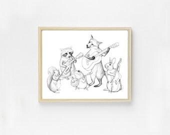 Bluegrass Animal Band Art Print - Bluegrass Art - Animal Art - Music Art - Cute Animal Print - Woodland Critter Band - Nursery Art - Musical