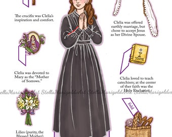 Saint Clelia Barbieri Paper Doll (Color and BnW)