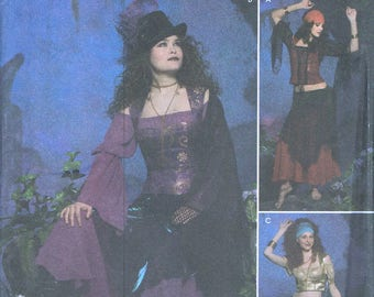 Size 6-12 Misses' Gothic Costume Sewing Pattern - Gypsy Woman Costume -  Belly Dancer Costume - Halloween Costume - Simplicity 4484