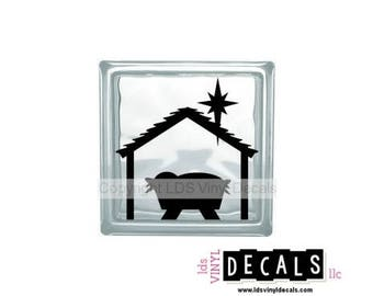 Baby Jesus - Christmas Vinyl Lettering for Glass Blocks - Nativity / Manger Craft Decals