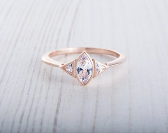 10K Rose gold ring with Marquise and Trillion cut Lab Diamonds - handmade engagement ring