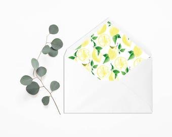 Envelope Liner - Wedding Liner Envelope - Wedding Envelope - Envelope Liner - Lemons Botanical Watercolor Wedding Invitation