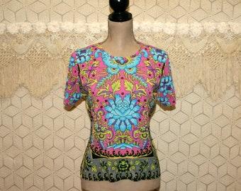 Colorful Bohemian Print Womens Tops Short Sleeve Hippie Shirt Knit Blouse Medium Large Womens Blouses Womens Shirts Festival Womens Clothing