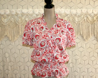Womens Peasant Blouse India Print Hippie Boho Top Large Cotton Short Sleeve Button Up Blouson Red White Blue Ralph Lauren Womens Clothing