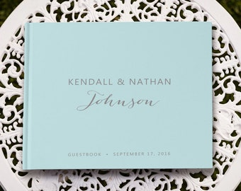 Pastel Blue Large Wedding Guest Book Pages, Sky Blue Wedding Guestbook, GB 118