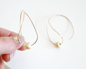 White Bead Teardrop Hoop Earrings - 14K Gold Filled Wire Hoop Earrings with Gold Leaf -Teardrop Shaped Hoop Earrings