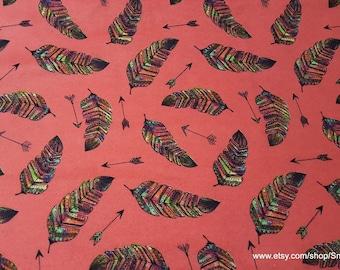 Flannel Fabric - Rainbow Feather Arrows - 1 yard - 100% Cotton Flannel