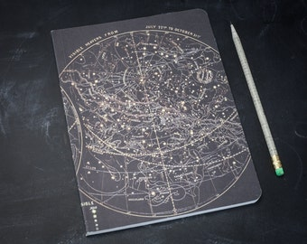 Night Sky Astronomy Softcover Notebook | Dot Grid, Recycled Paper, Star Map, Star Chart, Space Gift, BuJo Science, Constellation, Vintage