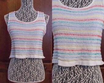 90s St. John Sport Sleeveless Knit White Rainbow Stripe Crop Top