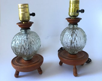 Pair of Vintage Wood Base Glass Globe Lamps