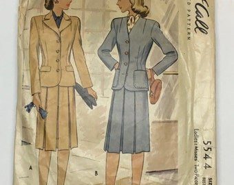 McCall 5544 Vintage 1940's Sewing Pattern: Women's Two-Piece Suit (Jacket and Skirt), Size 16 (34-28-37)