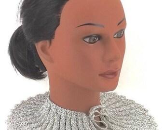 womens accessory | vintage bib collar | 80s collar necklace | scallop crochet necklace | scarf head wrap | silver wedding accessory