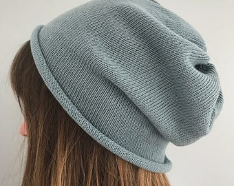 Ladies cotton slouch hat, slouchy beanie, slouchy hat, cotton beanie, knitted cotton slouch hat, handmade slouchy hat