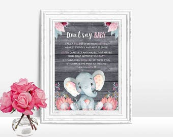 Don't say Baby Game, Elephant Baby shower Sign, Don't say baby Sign Printable, Elephant Baby shower game, Girl baby shower game sign