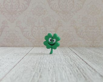 St. Patrick's Day Clover- Smiley Four Leaf Clover- Tie Tack- Lapel Pin