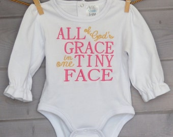 Personalized All of God's Grace in one Tiny Face Applique Shirt or Onesie Girl or Boy