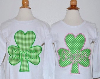 Personalized St. Patrick's Day Shamrock Applique Shirt or Onesie Girl or Boy