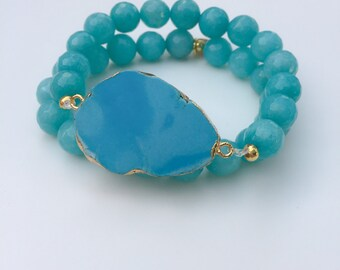 Turquoise Geode Stretch Bracelets, set of 2