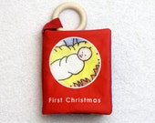 FIRST CHRISTMAS - a natural cotton cloth book for baby's 1st Christmas - with organic wood teething ring & optional crinkle
