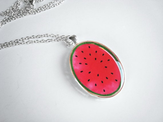 Watermelon pendant necklace, fruit resin necklace, red fruit necklace, summer jewelry, fruit jewelry, oval medallion, pop art jewelry