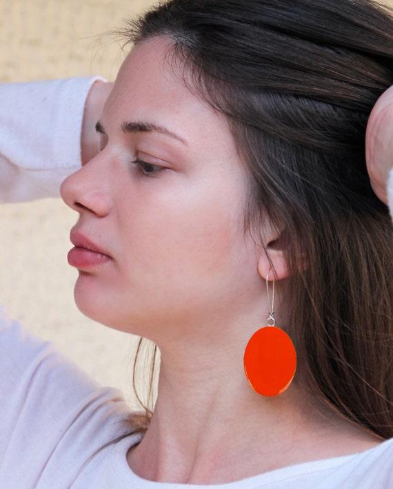 Tangerine orange earrings, long earrings, orange resin earrings, modern minimalist, big oval lightweight earrings, color block jewelry