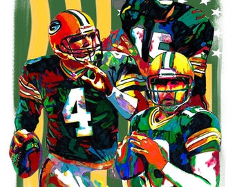 """Green Bay Packers, Bart Starr, Brett Favre, Aaron Rodgers, Football, POSTER from Original Drawing 18"""" x 24"""" Signed/Dated by Artist w/COA 2"""
