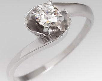 Vintage Engagement Ring - Retro Round Brilliant Diamond Solitaire - 14K White Gold Engagement Ring - WM11622