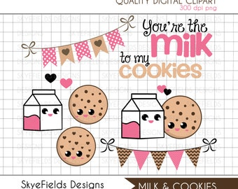 You're the Milk to my Cookies - Clipart Set Chocolate Chip Cookie, Milk, Hearts, Banner, Includes Valentine's Day Freebie