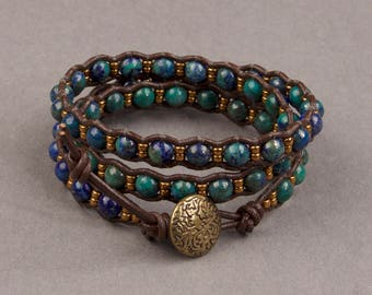 Chrysocolla and Bronze Seed Beads with Brown Leather Triple Wrap Bracelet